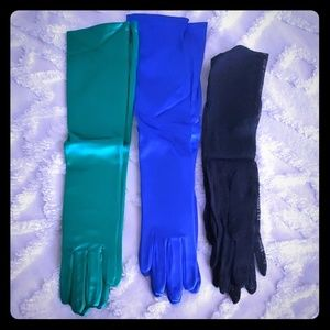 Vintage bundle of three grn, blue, blk gloves NEW